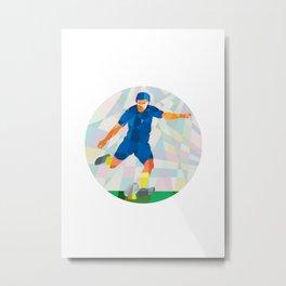 Rugby Player Kicking Ball Circle Low Polygon Metal Print