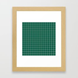Castleton green - green color - White Lines Grid Pattern Framed Art Print