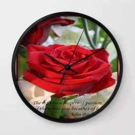 Whispers of Passion and Love Red Rose Greeting Wall Clock