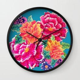 Oriental Peony Embroidery Wall Clock