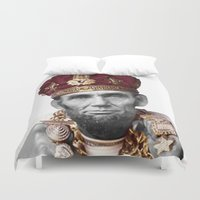 lincoln Duvet Covers featuring SLICK LINCOLN by MICKEY FICKEY GALLERY
