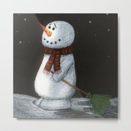 Looking at the stars snowman Metal Print