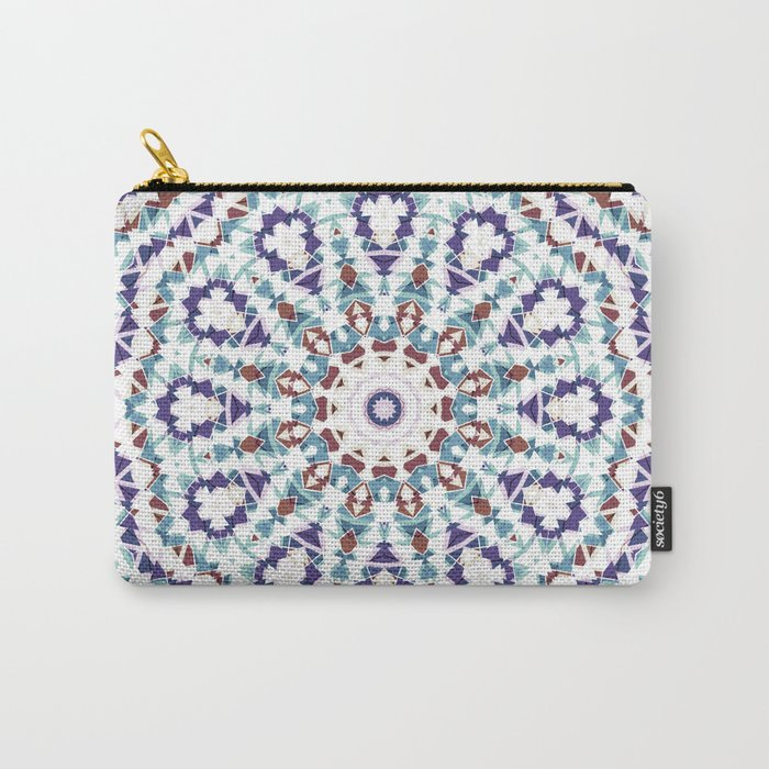 White, brown , blue kaleidoscope . Carry-All Pouch