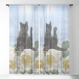 Meditation Yoga Cat Sheer Curtain