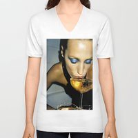 champagne V-neck T-shirts featuring Champagne Slurp by Wanker & Wanker