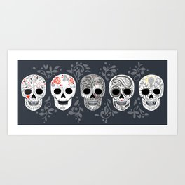 Celebracion de Gris_Calaveras Sugar Skulls line_RobinPickens Art Print