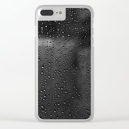 Black and White Rain Drops; Abstract Clear iPhone Case