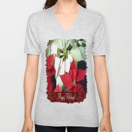 Mixed Color Poinsettias 2 Happy Holidays S5F1 Unisex V-Neck
