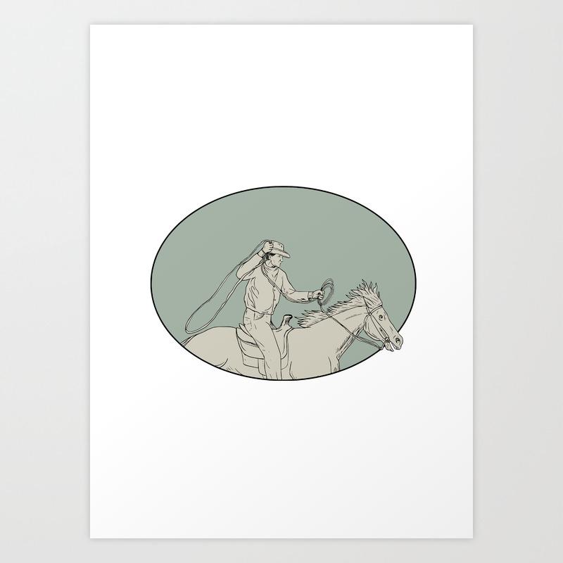 Cowboy Riding Horse Lasso Oval Drawing Art Print By Patrimonio Society6
