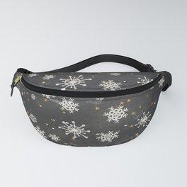 Boho Black Snowflakes Fanny Pack