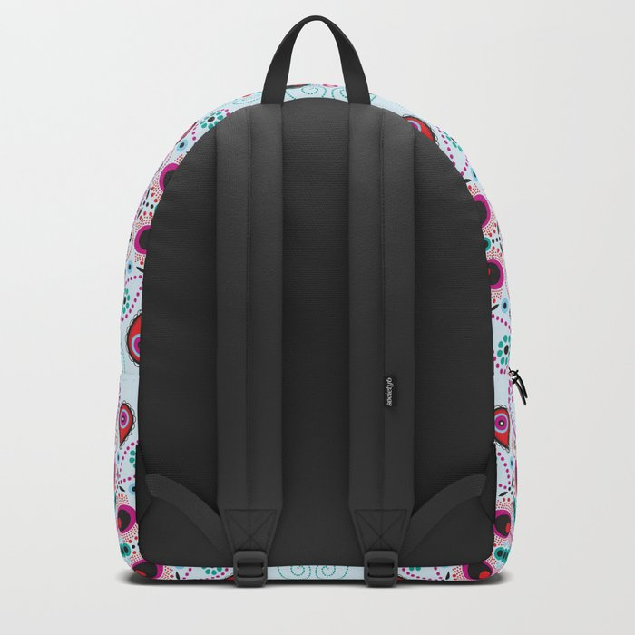 Pointillism mandala   Light blue, red and purple Backpack