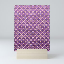 Mermaid Scales Pattern in Purple and Rose Gold Mini Art Print