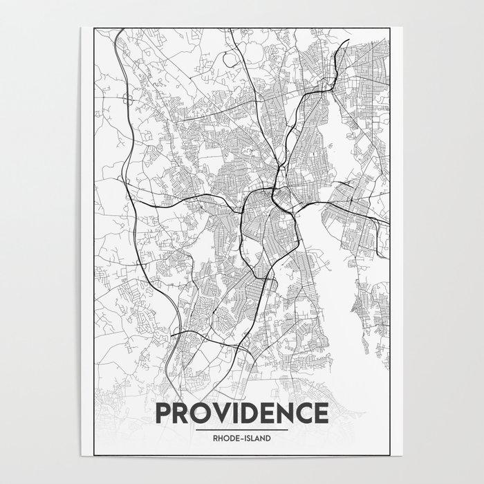Minimal City Maps - Map Of Providence, Rhode Island, United States Poster  by valsymot