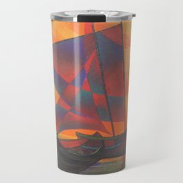 Red Sails in the Sunset Cubist Junk Abstract Travel Mug