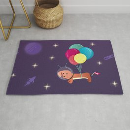 Galaxy Dog with balloons Rug