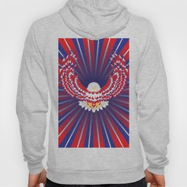Blue red and white bald eagle Hoody