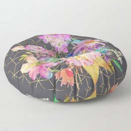 Modern watercolor floral and gold geometric cubes Floor Pillow