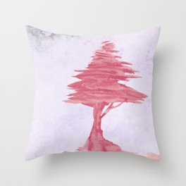 Red Tree watercolor on old paper Throw Pillow