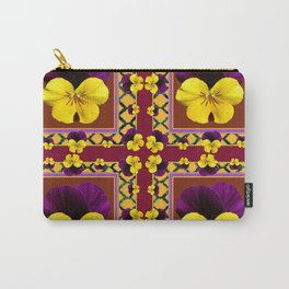 MAROON QUATREFOIL PURPLE & YELLOW SPRING PANSIES Carry-All Pouch