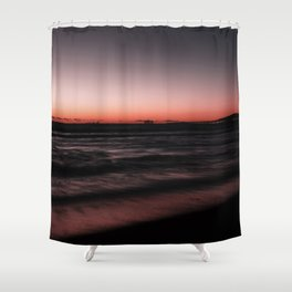 Sunset Shades of Magenta Beach Ocean Seascape Landscape Coastal Wall Art Print Shower Curtain