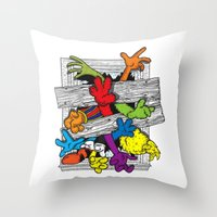 cartoons Throw Pillows featuring Cartoons Attack by luis pippi