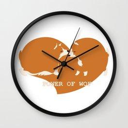 Corgi dogs are kissing Wall Clock