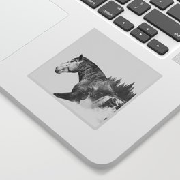 Horse | Abstract Photography | Art | Black-and-White | Animal | Double-Exposure | B&W | Fog Sticker