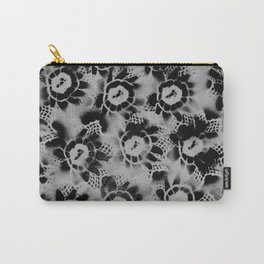 Black n White Flowers Carry-All Pouch