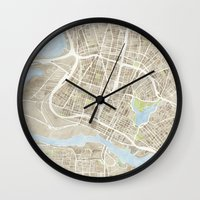 oakland Wall Clocks featuring Oakland California Watercolor Map by Anne E. McGraw