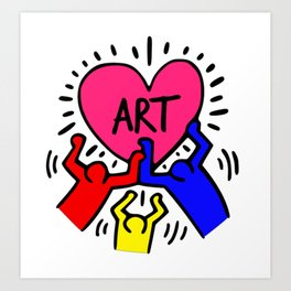 "Keith Haring inspired ""I Love Art"" Primary Colors edition Art Print"