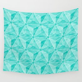 Geodesic Palm_Turquoise Wall Tapestry