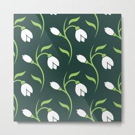 Spring Snowdrop Pattern Metal Print