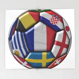Russia 2018 - football ball with various flags Throw Blanket