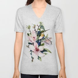 Hummingbird and Magnolia Flowers Unisex V-Neck