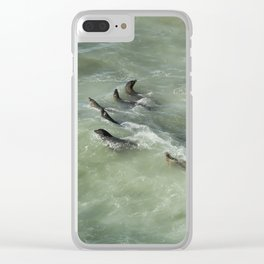 Sea Lions Cavorting in a Green Sea Clear iPhone Case