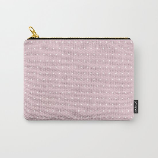 Polka dot dance on pink - White dots pattern Carry-All Pouch