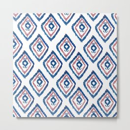 Rugged Royal - aztec watercolour pattern Metal Print