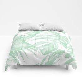 Light Green Tropical Palm Leaves Print Comforters
