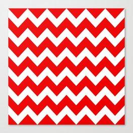 Chevron Red White Canvas Print