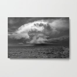 Take a Deep Breath - Storm Cloud Explodes on Horizon in Oklahoma Panhandle in Black and White Metal Print