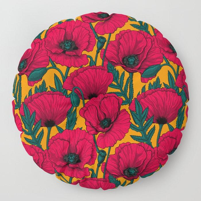 Red poppy garden Floor Pillow