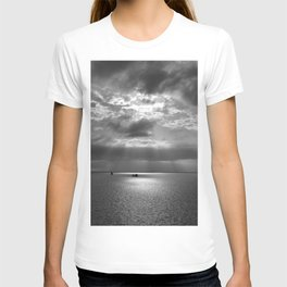Cloudscape in black and white T-shirt