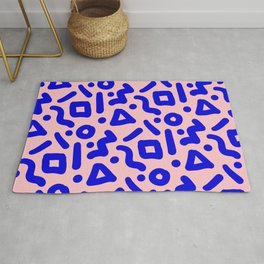Doodle Pattern - Pink and Electric Blue Rug
