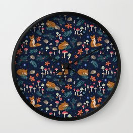 Fox and Hedgehog in Toadstool Woods In Blue Wall Clock