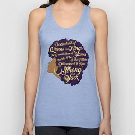 Black Girl Magic - Descendants of Queens and Kings Determined To Rise Faux Gold Afro Woman Unisex Tank Top
