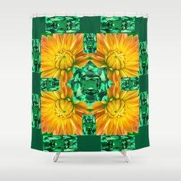 GREEN EMERALD GEMS ART V& GOLDEN MUM FLORAL PATTERNS Shower Curtain