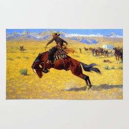 "Frederic Remington Western Art ""A Cold Morning"" Rug"