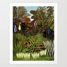 Exotic Jungle Landscape with Monkeys and Birds by Henri Rousseau Art Print