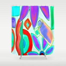 Summer Abstract Digital Painting Shower Curtain