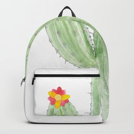 Simple Greeny Cactus Plant Tee For You With Illustration Of A Simple Flowery Cactus T-shirt Design Backpack